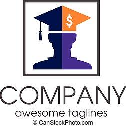 Student loan financial logo concept, graduate hat logo