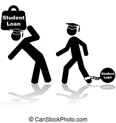 Student loan - Icon illustration showing a couple of ...