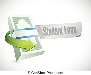 student loan money bills illustration design over a white...