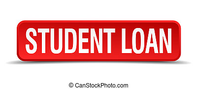 Student loan red 3d square button isolated on white