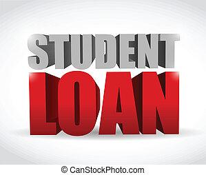 student loan sign illustration design