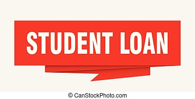 student loan sign. student loan paper origami speech bubble....