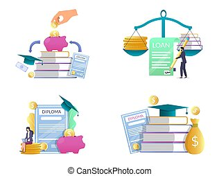 Student loan vector concept isolated illustration set -...