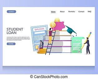 Student loan vector website landing page design template -...