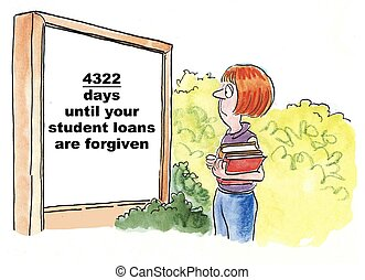Student Loans - Cartoon of teen college student looking at...