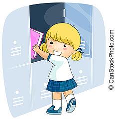 Student Locker - A Beaming Girl in School Uniform Putting ...