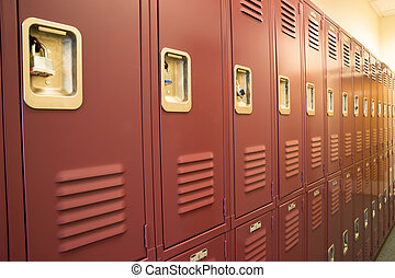 A row of locked starage lockers horizontal composition