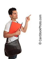 Student looking pointing to your message