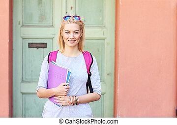 student, młody, samica, campus