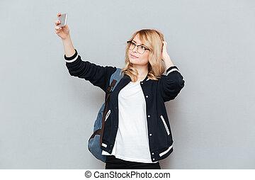 Student making photo