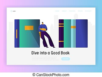 Student Man Character Read Book Studying Lifestyle Landing Page. School Education Information Concept. Academic Guy. Online Bookstore Poster Website or Web Page. Flat Cartoon Vector Illustration