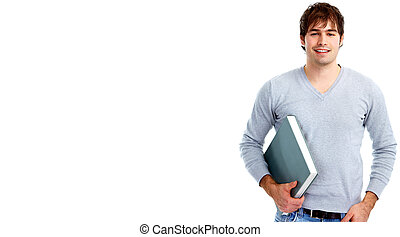 Student man with a book.