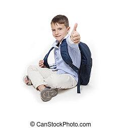 student, med, tummar uppe, sittande