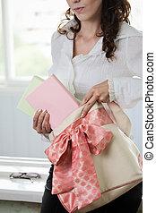 student, meisje, met, boekjes