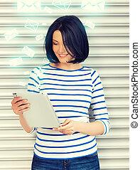 student, meisje, met, tablet pc