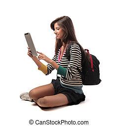 student, meisje, met, tablet