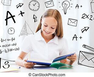 student, meisje, studerend , op, school