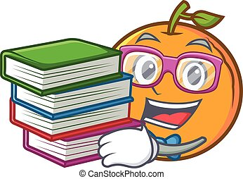 student, met, boek, sinaasappel, fruit, spotprent, karakter