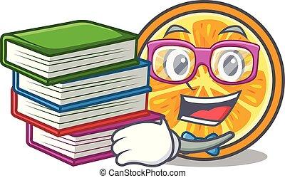 student, met, boek, sinaasappel, mascotte, spotprent, stijl