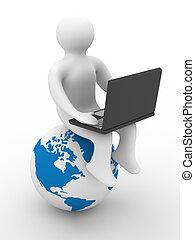 student, met, de, draagbare computer, zittende , op, globe., 3d, image.