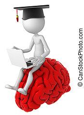 student, met, draagbare computer, zittende , bovenop, de, hersenen