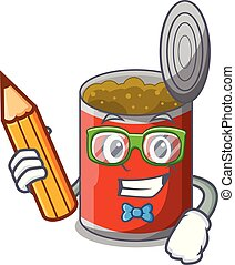 Student metal food cans on a cartoon vector illustration