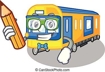 student, metro trein, speelgoed, in vorm, mascotte