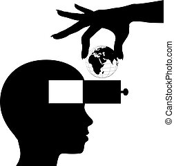 Student mind learn world knowledge education - Hand gives...