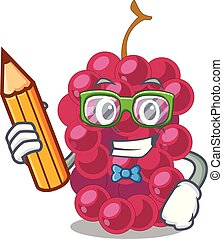 Student mulberry in the character fruit basket vector...