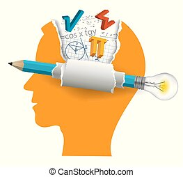 Stylized Male Head silhouette with mathematics symbols and pencil with bulb. Vector available.