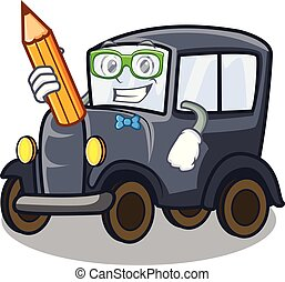 Student old car isolated in the cartoon