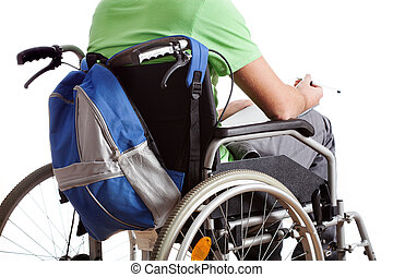 Student on wheelchair with backpack and notebook