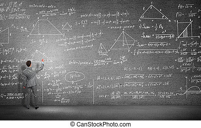 Student or teacher at blackboard