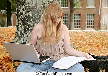 student outdoors