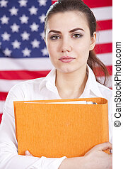 student over american flag