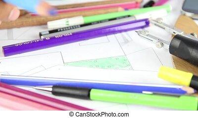 University student painting architect project