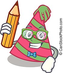 Student party hat character cartoon vector illustration