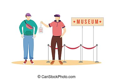 Student pass for museums flat vector illustration. Cheap travelling ideas. Discount for students. Free entrance for youth. Budget tourism isolated cartoon character on white background