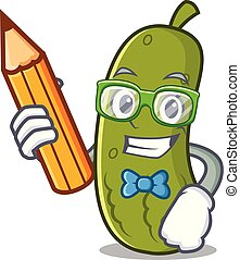 Student pickle character cartoon style