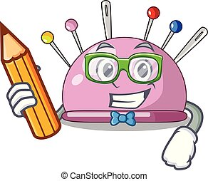 Student pincushion with a character needles icon vector...