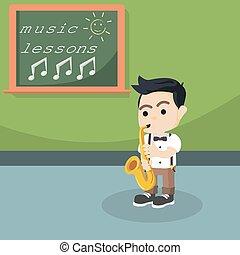student play saxophone illustration design