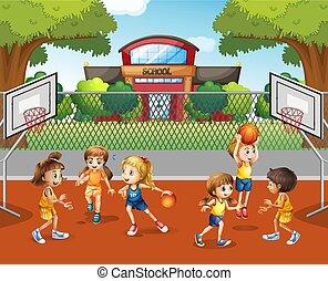 Student playing basketball at school illustration