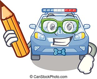Student police car in the shape character