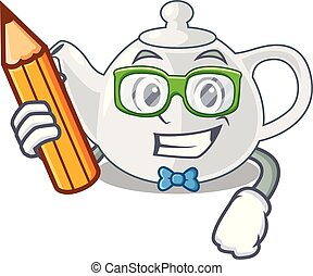 Student porcelain teapot ceramic isolate on mascot