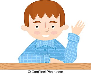 student, posiedzenie, na, jej, biurko, podwyżki, jej, ręka.