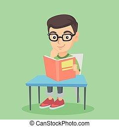 student, posiedzenie na stole, i, czytanie, niejaki, book.