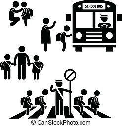 A set of pictograms representing school children back to school.
