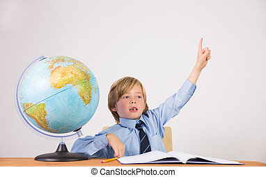 Student raising hand for question on white background