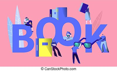 Student Read Book Learning Concept Typography Banner. People Character Study Encyclopedia in Bookstore. Knowledge University Motivation Poster Template Flat Cartoon Vector Illustration