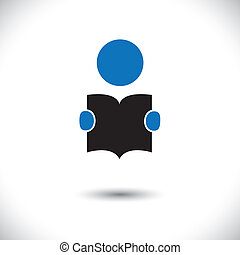 student reading a book icon with his hands holding the booklet vector. The graphic can represent concepts like students reading, children learning, enhancing knowledge